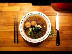 Delicious Japanese soup with chicken meatballs