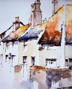 Bosham, West Sussex, UK, by Jeanette Clarke - Line and wash painting of The Blue Anchor at Bosham. Watercolor Architecture, Watercolor Landscape, Art And Architecture, Installation Architecture, Art Installation, Urban Landscape, Landscape Art, Landscape Paintings, Landscapes