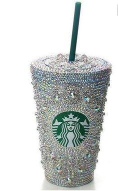 Cup- Custom Starbucks Bling AB Gems Rhinestone Cup with Lid 16oz - Eshays, LLC | Eshays, LLC