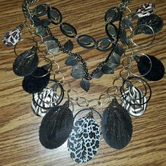 Jewelry Bold multimedia  necklace (includes metal, cloth, stones). Beautiful statement piece! Chico's Jewelry Necklaces