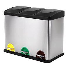 Songmics® 54 Liter Edelstahl Recycling Mülleimer Mülltrenner Abfalleimer Tretabfalleimer Abfallbehälter Treteimer mit Inneneimer 60,5x34x56,5cm LTB54L