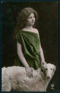 Young Lady Friend Borzoi Wolfhound Dog Original Vintage Old 1910s Photo Postcard