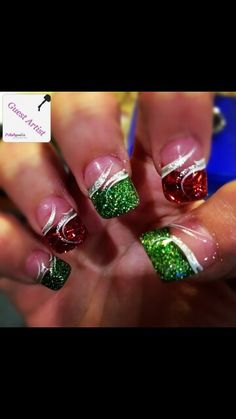 Glitter acrylic powder and simple nail art.