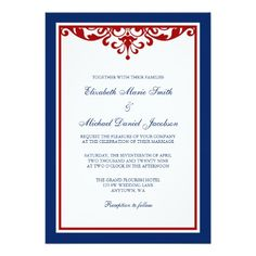 Navy Blue and Red Flourish Wedding Custom Announcements