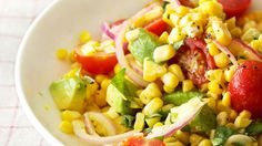 and Avocado Salad Corn and Avocado Salad by Ina Garten Just saw her make this and it looked delicious!Corn and Avocado Salad by Ina Garten Just saw her make this and it looked delicious! Corn Avocado Salad, Avocado Dessert, Avocado Salad Recipes, Avocado Toast, Tomato Salad, Onion Salad, Corn Recipes, Wine Recipes, Cooking Recipes