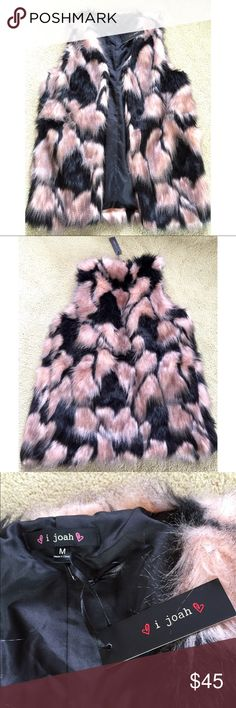 80434d832 Spotted while shopping on Poshmark  Pink and Black Faux Fur Vest.!   poshmark  fashion  shopping  style  Jackets   Blazers