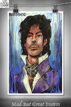 Prince - Thomas Spencer, original poster, painting, music, retro, wall art, home decor, gift, fine art, illustration, celebrity, vintage, id by MadButGreatPosters on Etsy