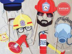 Feuerwehrauto Geburtstag Foto Booth Requisiten von PaperBuiltShop
