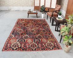 "Persian Tribal Rug Home Decor Vintage Carpet Living Room, Red Persian Wool Rug Hand Knot Oushak , 5'2"" x 8'5"", Code: 053025 large rug"