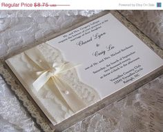 Custom listing for Jessica Lace Wedding Invitations,  Shabby Chic, Vintage Inspired, Haute Couture Invitations on Etsy, $350.22