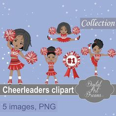 Cheerleaders Team Clipart, Sports Graphics, African American, Red Uniform, Football, Commercial, Cute Girls, School Characters, Pom Pom, Art