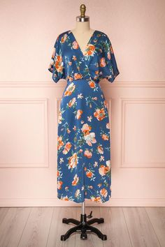 Nicolasa Blue Floral Satin A-Line Dress | Boutique 1861