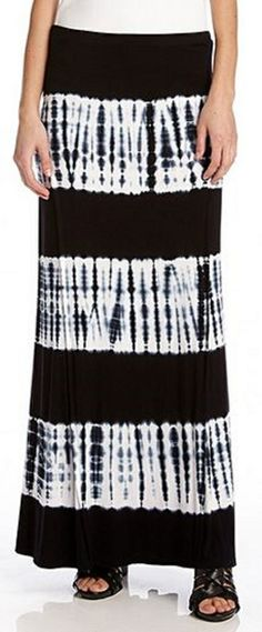 Tie Dye LOVE! Super Slimming Comfy Black and White Tie Dye Maxi Skirt