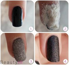 DIY Nail Art   Liquid sand! 1) After you have made your base coat pain your nails in the colour you want. 2) Then let some flour on your nail and press it gently. 3) Tap/Blow it carefully and leave it there till it drys up. 4) Now apply a layer of nail polish of your choice. In order to keep  it as much as possible on liquid sand seems you can choose to take the best for something with glitter #nails
