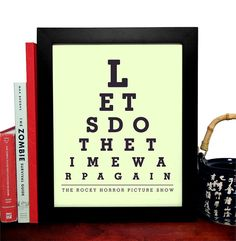 The Rocky Horror Picture Show, Lets Do The Time Warp Again, Eye Chart, 8 x 10 Giclee Art Print, Buy 3 Get 1 Free
