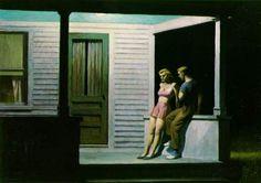 Edward Hopper (American, American Realism, Summer Evening, Oil on canvas, 30 x 42 inches. Caravaggio, American Realism, American Artists, Edouard Hopper, Edward Hopper Paintings, Stephen Shore, Robert Rauschenberg, David Hockney, Edgar Degas