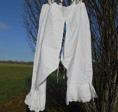 Long Open White Bloomer Handmade by SophieLadyDeParis French Lingerie, Vintage Lingerie, Women Lingerie, Cotton Underwear, Handmade Clothes, White Women, Linens, Vintage Ladies, Art Deco