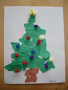 Torn Paper Tree-put snow on it instead of Christmas lights Preschool Christmas, Noel Christmas, Christmas Crafts For Kids, Winter Christmas, Christmas Themes, Holiday Crafts, Preschool Winter, Disney Christmas, Green Christmas