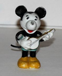 Large Banjo Playing Mickey Mouse bisque (1930's)