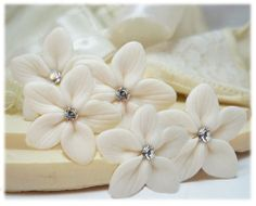 Stephanotis Crystal Hair Pin  Bridal White by strandedtreasures, $8.00