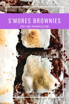 S'mores Brownies are complete with a graham cracker crust, a delicious,  fudgy brownie center, and gooey, toasted marshmallow tops! #brownies #smores #smoresbrownies #homemade #fromscratch #chocolate