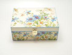 Decoupage tea box, wooden box, tea box, flower decoration, decoupage box, wooden tea box, shabby chic box, home decoration, floral tea box by PastimeArt on Etsy