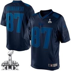 45fead20c New England Patriots  87 Rob Gronkowski 2015 Super Bowl XLIX Drenched  Limited Blue Jersey New