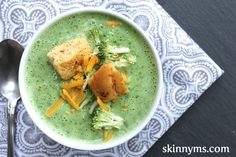 Crockpot Broccoli and Asparagus Soup with Garlic Cheddar Croutons #broccolirecipe #asparagussoup