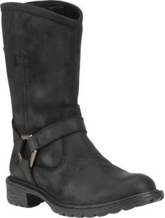 """Waterproof burnished nubuck-leather uppers and harness-strap detailing sets these Earthkeepers Stoddard Mid Biker Boots apart from the crowd.  Heel ht:  1.2"""".  Ht:  9"""".  Avg. wt:  2.3 lbs./pair.  Women's sizes:  6-11 medium width. Half sizes to 10.  Color:  Black."""
