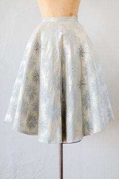 vintage 1950s silk damask snowflake circle skirt   50s skirt   snowflake skirt
