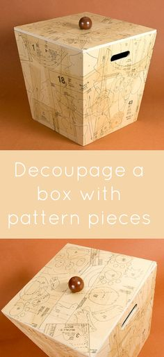 I love covering everything I can in old pattern pieces and Mod Podge - so I decorated a gift for a friend: a decoupage box! It was VERY easy!