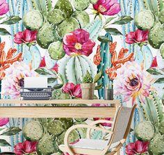 Watercolor Cactus Self-adhesive Removable Wallpaper, Cactus Wallpaper, Peel and Stick Fabric Wallpaper, Wall Mural, Wallpaper - SKU: WCW