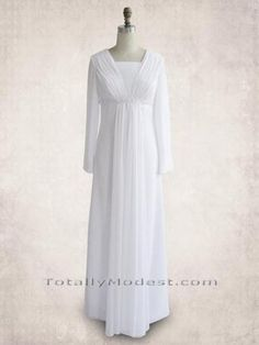 New temple dress? Chiffon with Grecian-look gathers and empire waist. High zipper back