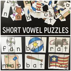 Short vowel puzzles!! Perfect for literacy centers or word work!!
