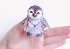 Penguin art doll. Collectible toy, designed for children. # ( animals toy clay sculpture penguin collectible plush toy stuffed fantasy creature handmade interior doll OOAK pinguin cute ) Approximately 1,5 inch ( 4 cm) in sitting position. - Completely handmade - Made from Faux Fur. -