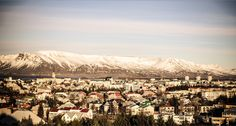4/2015. Reykjavik houses with Mt. Esja in the background. How to get to Mount Esja. Hiking.  We went to the cafe at the base of the mountain. The waffles were good. Our car rental agreement kept us from driving the gravel road.