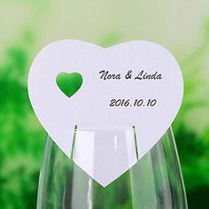 """""""Coração de coração"""" cartões do lugar para Wine Glass - conjunto de 12 – BRL R$ 6,68"""