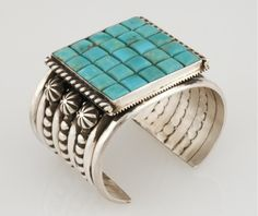 Mike Bird Romero cuff bracelet, sterling silver and Blue Gem turquoise set in a mosaic pattern.