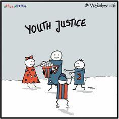 Today's #viztober is >Youth Justice< #inktober #skribeforward #sketchnote #sketchnotes #inktobergermany #vizthink #visualthinking #sketchnoting #illustration #visualnotes #notetaking #drawing Sketch Notes, Inktober, Workshop, Youth, Sketches, Comics, Drawings, Illustration, Fictional Characters