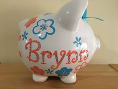 Personalized Large Coral/ Aqua Blue  flowers Piggy  Bank Newborns , Birthday…