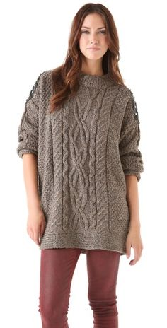 studded cable sweater / elizabeth & james