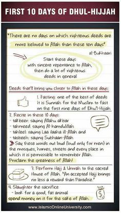 """Dhul Hijjah virtue and recommended acts: Praise be to Allaah. Among the great seasons of worship are the first ten days of Dhu'l-Hijjah, which Allaah has favoured over other days. It was narrated from Ibn 'Abbaas (may Allaah be pleased with him) that the Prophet (peace and blessings of Allaah be upon him) said: """"There are no days on which righteous deeds are more beloved to Allaah than these ten days."""" They said: """"Not even jihad for the sake of Allaah?"""" He said: """"Not even jihad for the sake…"""