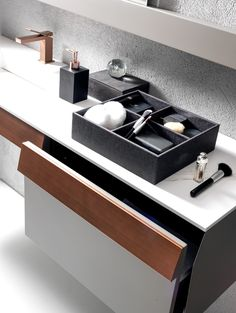 Karol's new bathroom storage range combines functionality with design. Sleek lines, with ample storage space. Large Bathrooms, Small Bathroom, Sales Office, Basin Taps, Office Interiors, Bathroom Storage, Storage Solutions, Storage Spaces, Bespoke