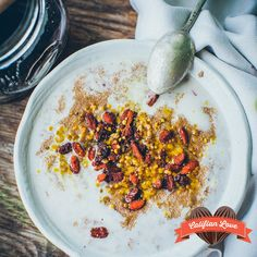 Amaranth porridge with almondmilk, grated pear, pumpkin spice, goji berries, bee pollen and fermented honey inside. by @thereshecooks
