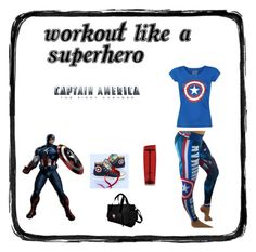 """""""Captain America Superhero Workout"""" by ronitaylorfit ❤ liked on Polyvore featuring Mason's, Converse and Trimr"""
