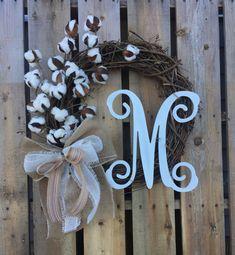 Cotton Wreath- Cotton Boll Wreath- Preserved Cotton Wreath- Primitive Wreath- Everyday Wreath- Cotton Branch- Front Door Wreath- Wreath by FarmgirlDesignsCo on Etsy