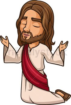 Jesus Christ Praising The Lord: Royalty-free stock vector illustration of Jesus Christ kneeling down and praying to God. Jesus Stories, Bible Stories, Jesus Painting, Painting For Kids, Bible Crafts, Bible Art, Jesus Bible, Jesus Christ, Cartoon Drawings