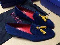 navy velvet mustard tessel slippers By LOLU