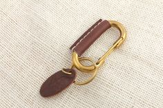 Solid Brass Carabiner Claps with Leather Wrapped / Brass Keyring Carabiner / Key fob Leather Wrapped