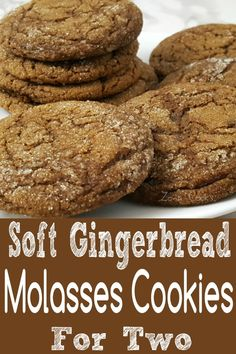 These Soft Gingerbread Molasses Cookies combine ginger, molasses, cinnamon and sugar to form the perfect soft batch cookie. They smell and taste amazing and are easy and quick, ready in just 20 minutes. This small batch recipe makes about 8 large cookies. #SoftBatchCookies #Gingerbread #Molasses #cookies #DessertForTwo #RecipesForTwo
